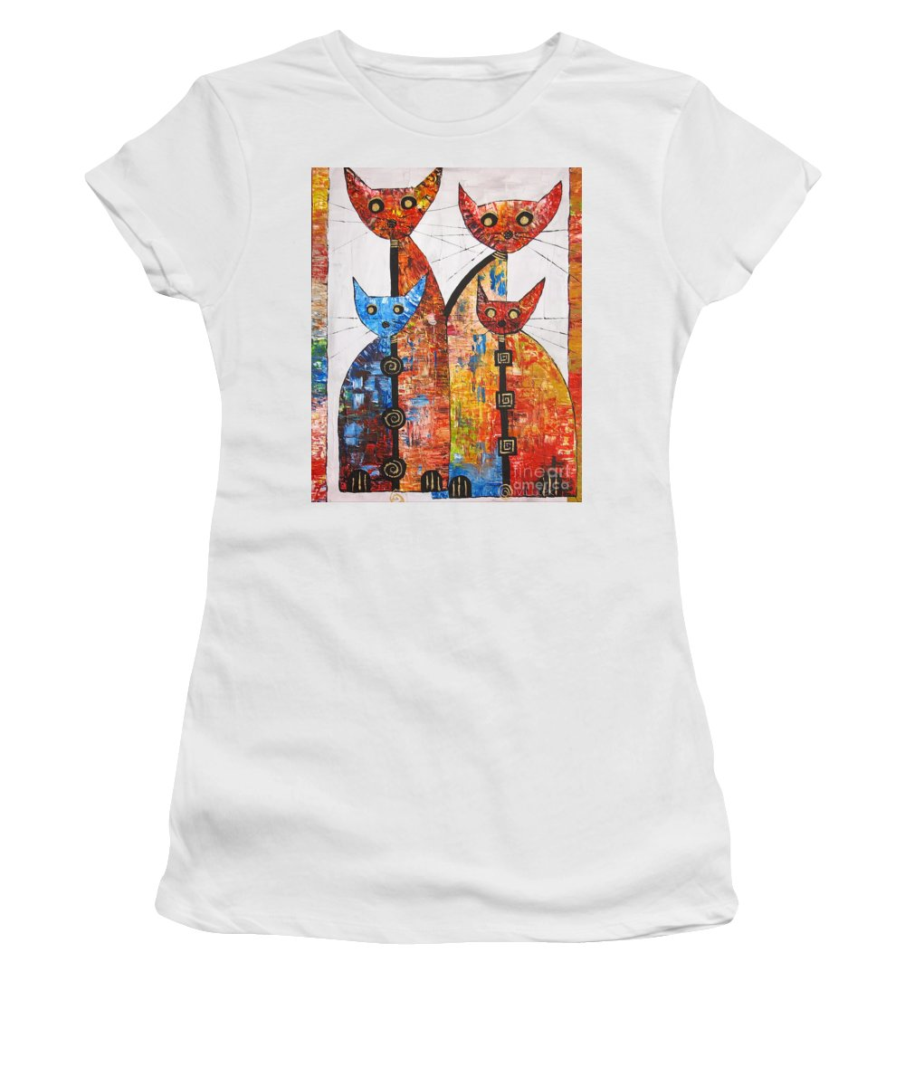 Cats Women's T-Shirt featuring the painting Cat 735 - Marucii by Marek Lutek