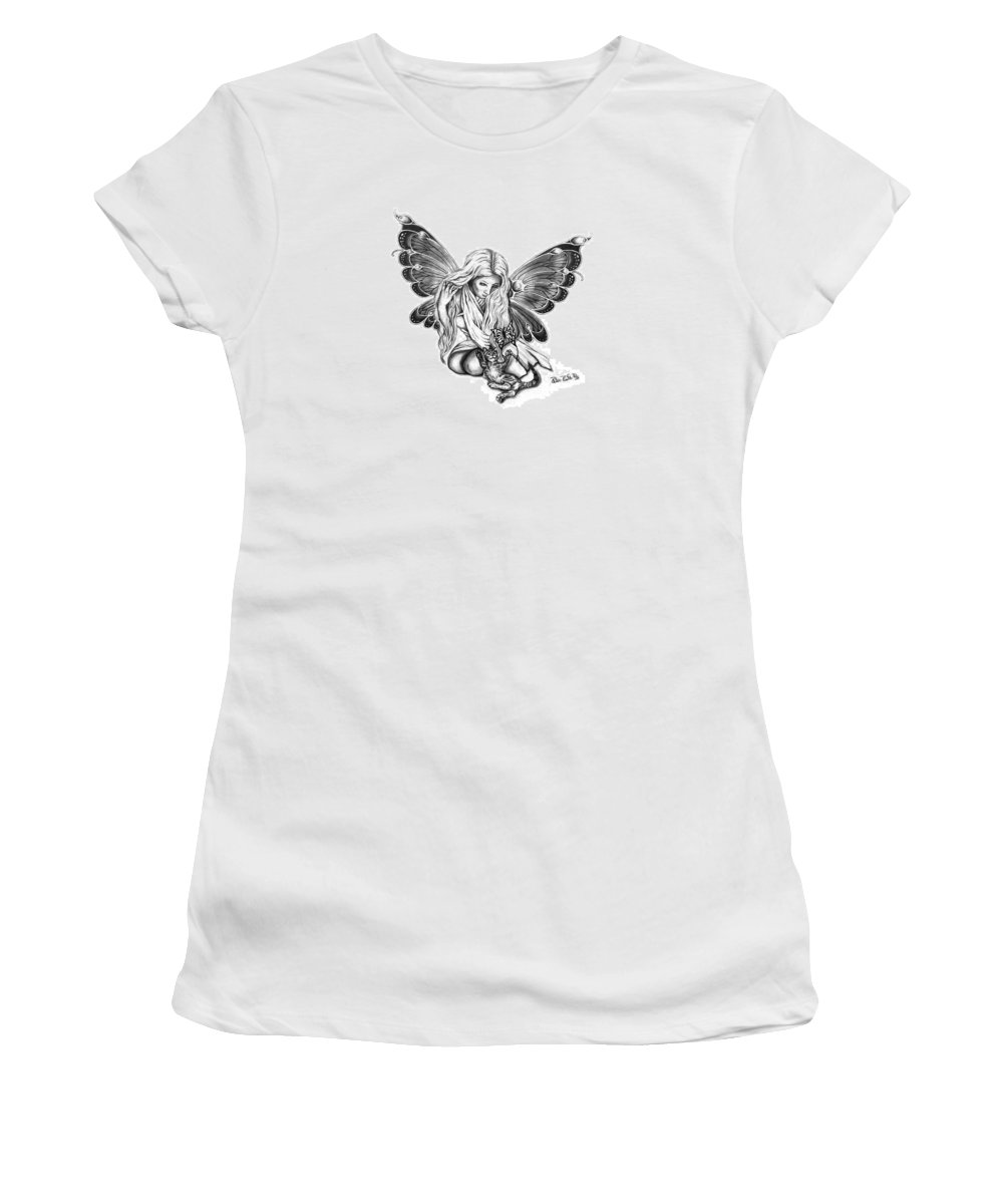 Cat Fairy Women's T-Shirt (Athletic Fit) featuring the drawing Cat Fairy by Peter Piatt
