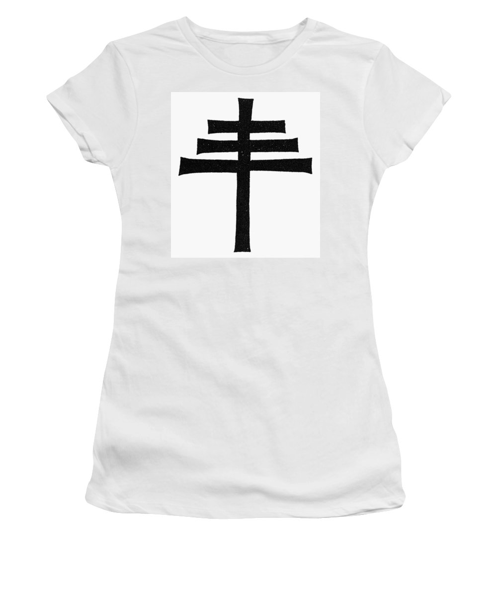 Ancient Rome Women's T-Shirt (Athletic Fit) featuring the painting Catholicism Papal Cross by Granger