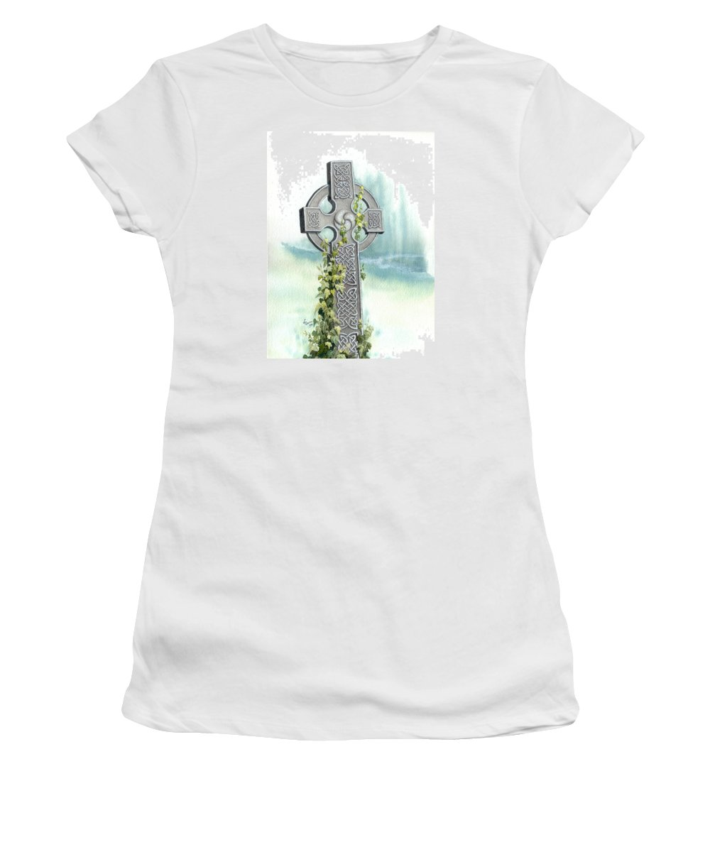 Celtic Cross Women's T-Shirt (Athletic Fit) featuring the painting Celtic Cross With Ivy II by Lynn Quinn