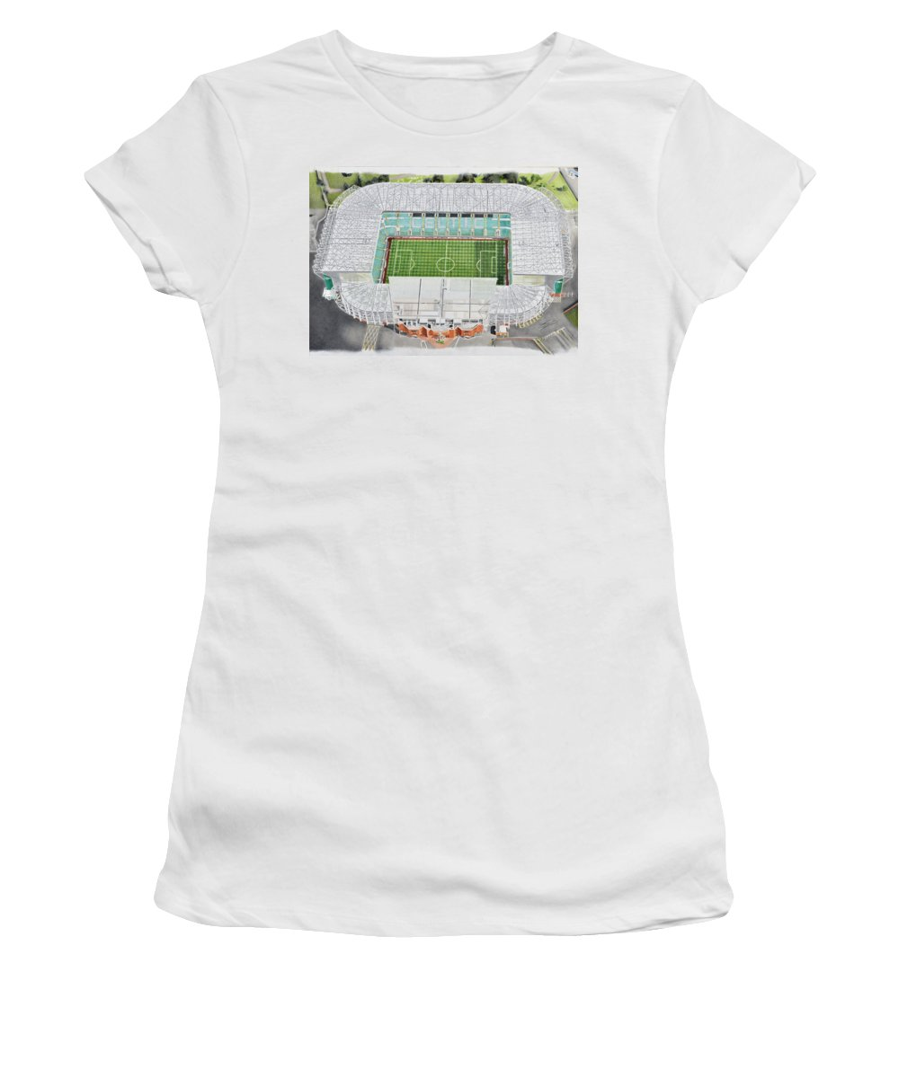 Art Women's T-Shirt featuring the painting Celtic Park Stadia Art - Celtic Fc by Brian Casey
