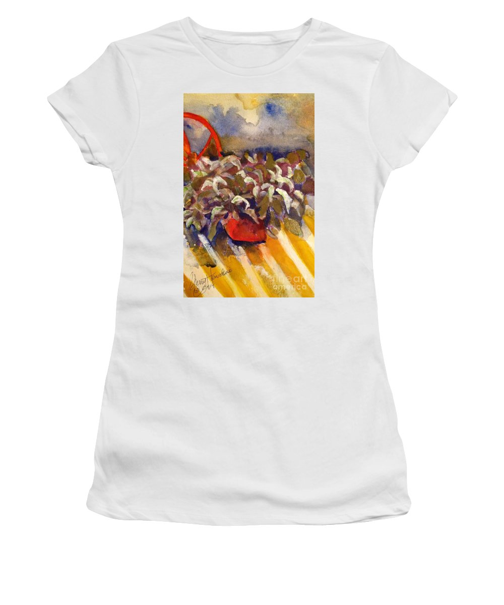 Plant Women's T-Shirt (Athletic Fit) featuring the painting Centerfold by Sherry Harradence