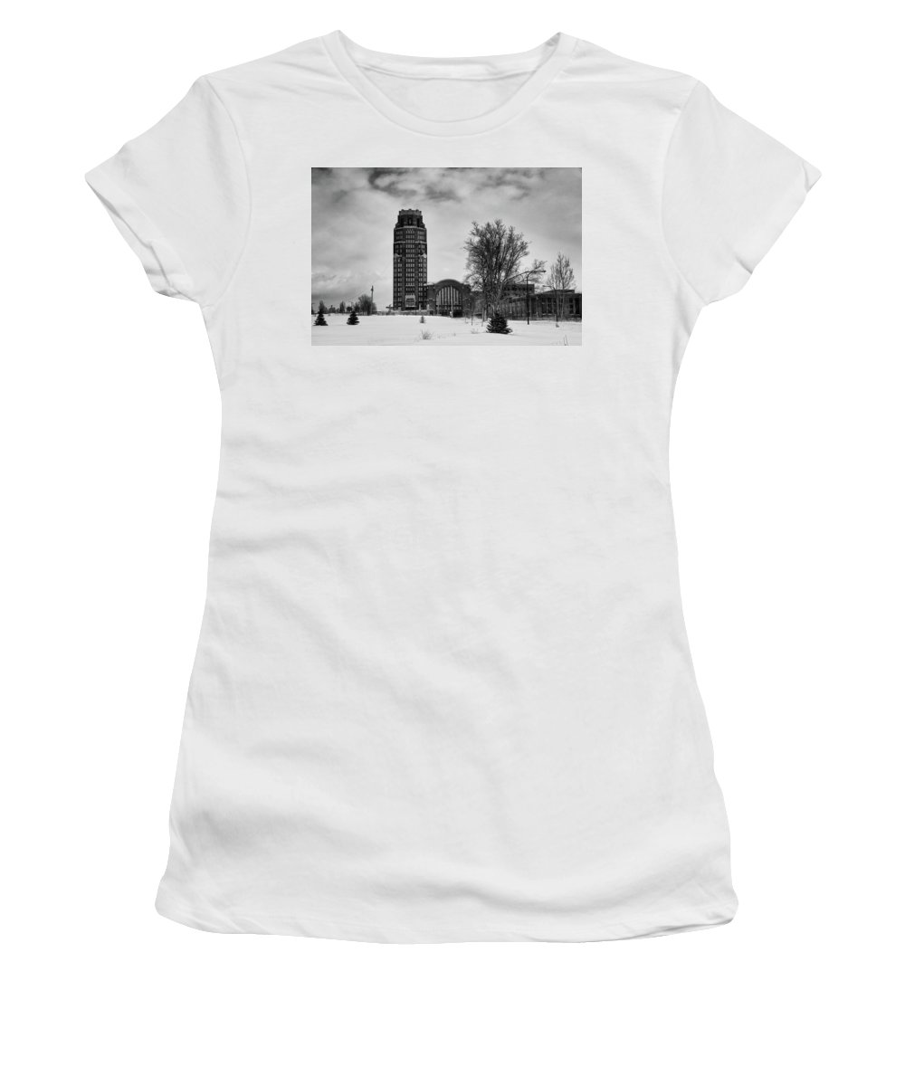 Buildings Women's T-Shirt (Athletic Fit) featuring the photograph Central Terminal 4431 by Guy Whiteley