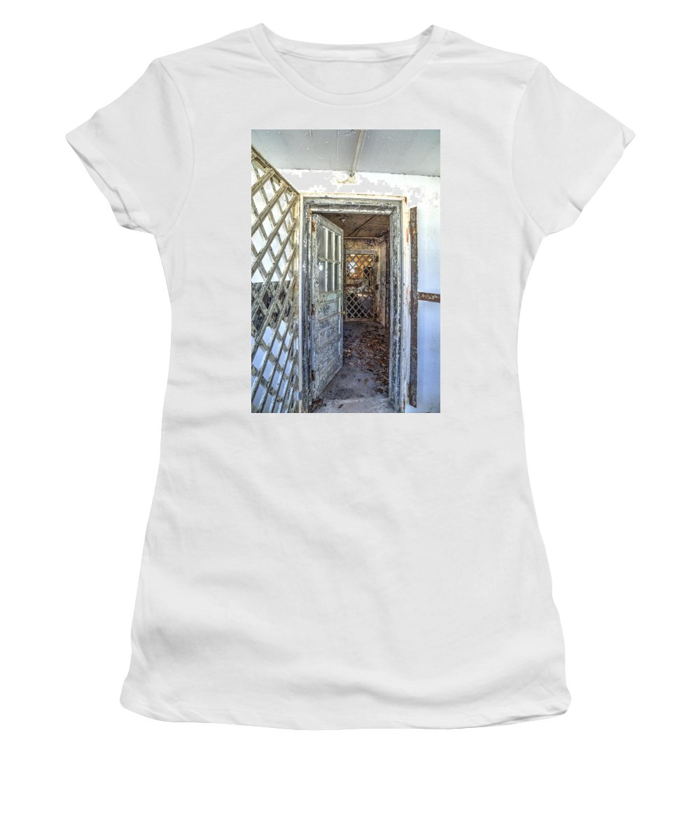 Door Women's T-Shirt (Athletic Fit) featuring the photograph Chain Gang-1 by Charles Hite