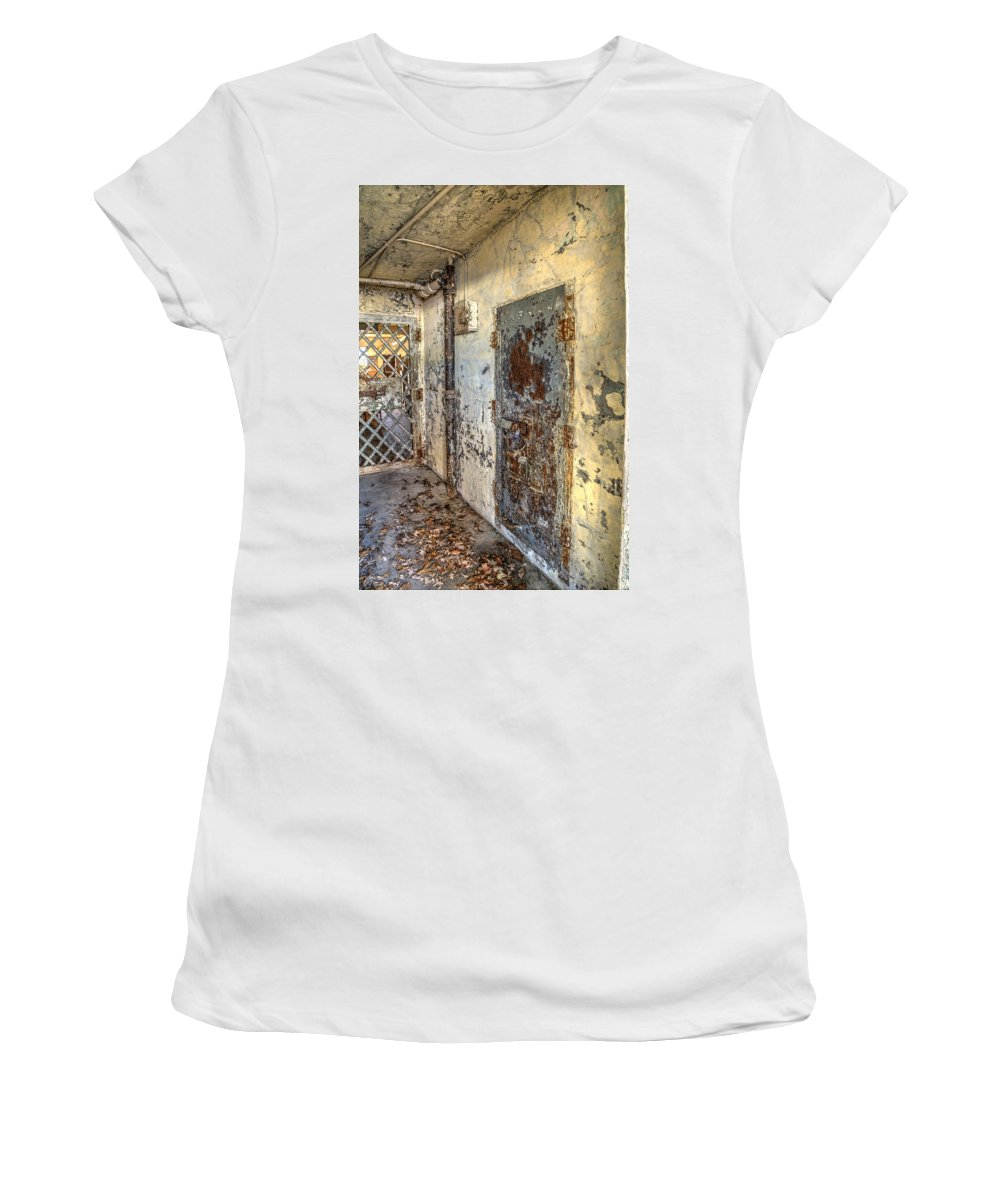 Doors Women's T-Shirt (Athletic Fit) featuring the photograph Chain Gang-2 by Charles Hite