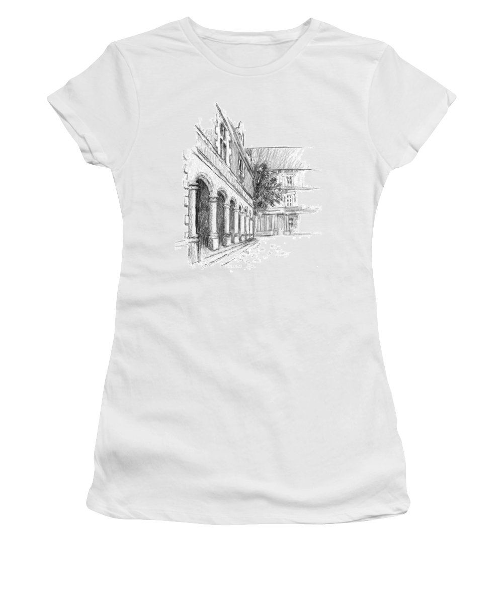 Castle Women's T-Shirt featuring the drawing Chambord Courtyard by Sarah Parks