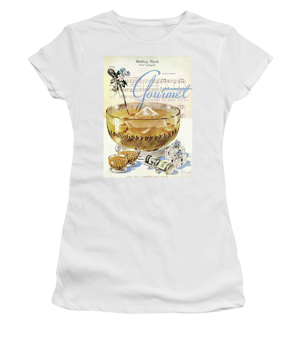 Illustration Women's T-Shirt featuring the photograph Champagne Punch And The Wedding March by Henry Stahlhut