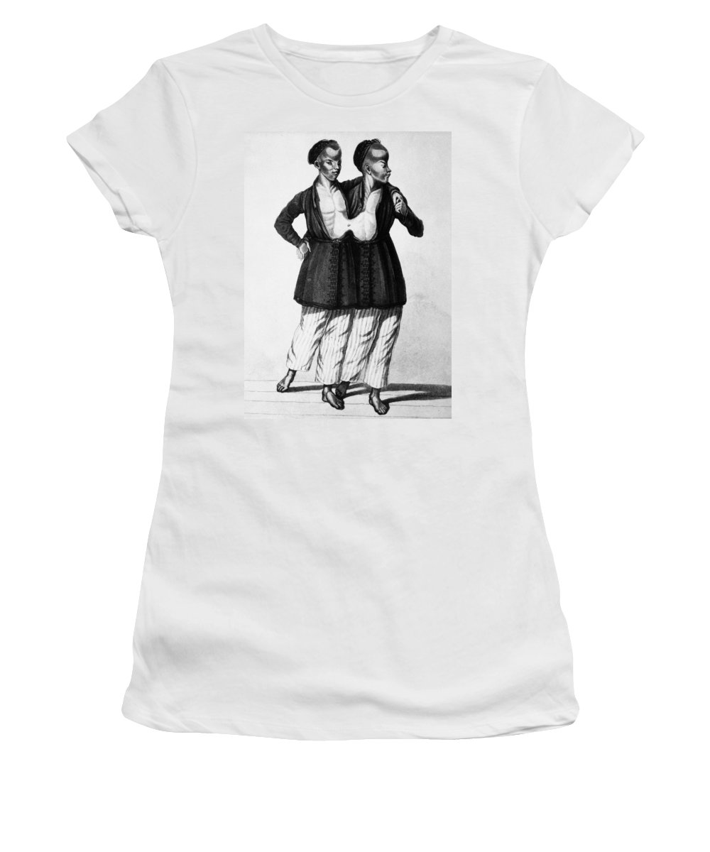 19th Century Women's T-Shirt (Athletic Fit) featuring the painting Chang And Eng (1811-1874) by Granger