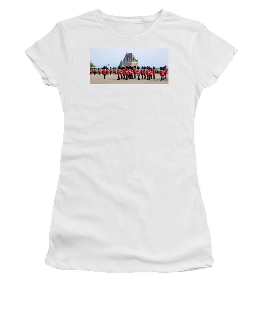 Quebec Women's T-Shirt featuring the photograph Changing Of The Guard The Citadel Quebec City by Edward Fielding