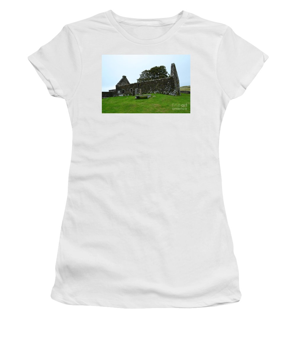 Ruins Women's T-Shirt (Athletic Fit) featuring the photograph Chapel Ruins At Dunvegan by DejaVu Designs