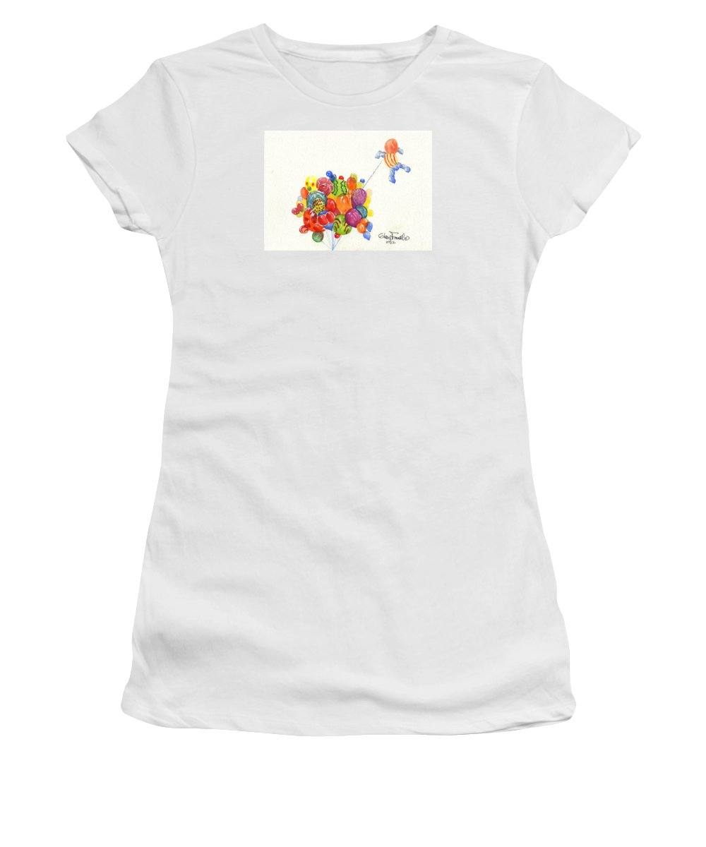 Balloons Women's T-Shirt (Athletic Fit) featuring the painting Characters In Balloon by Glenn Farrell