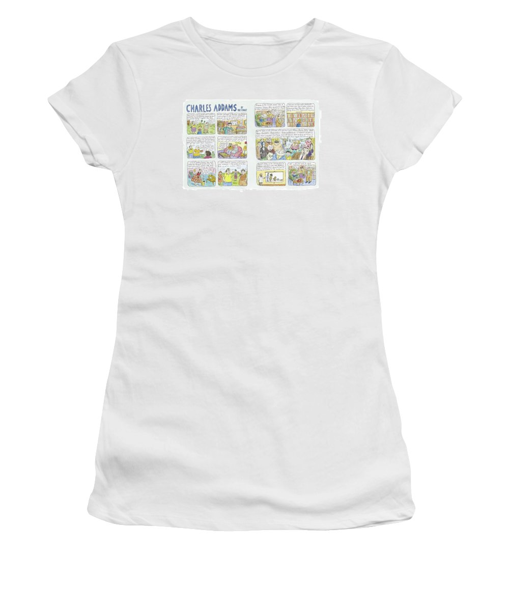 Addams Women's T-Shirt featuring the drawing Charles Addams by Roz Chast