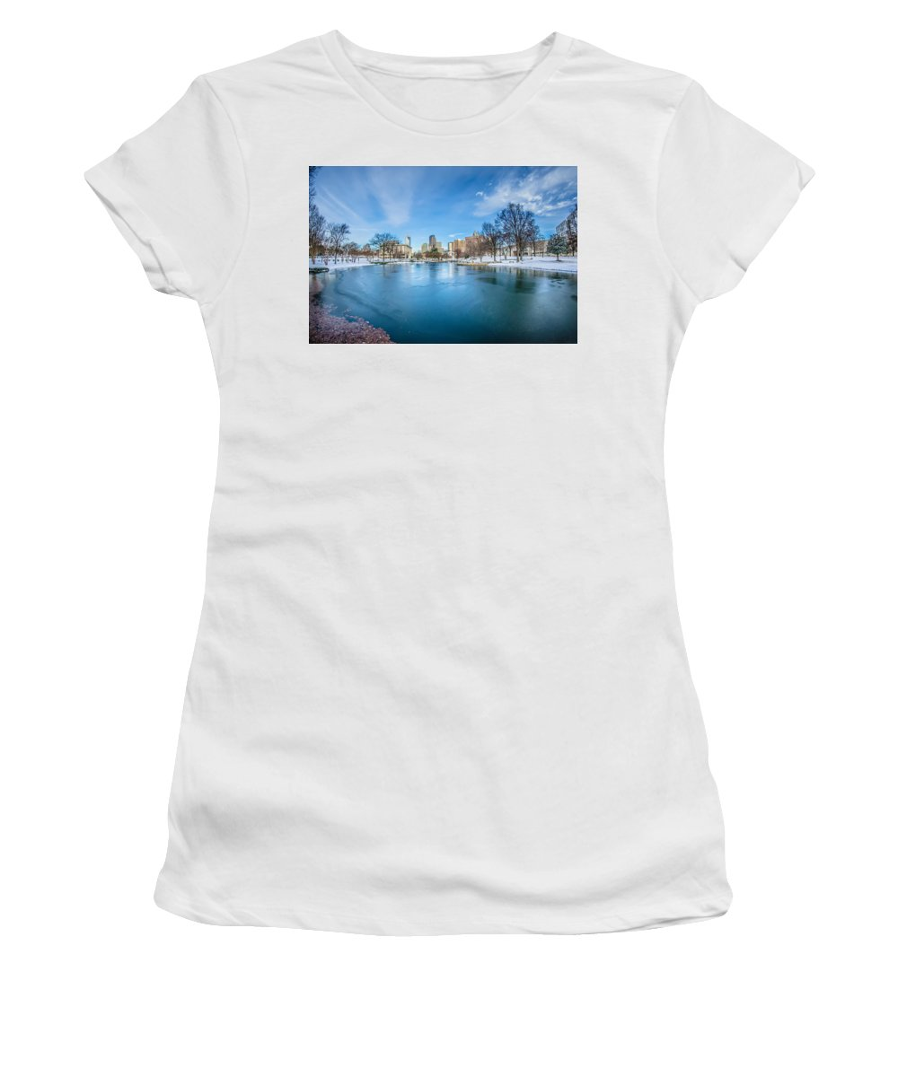 Charlotte Women's T-Shirt (Athletic Fit) featuring the photograph Charlotte North Carolina Marshall Park In Winter by Alex Grichenko