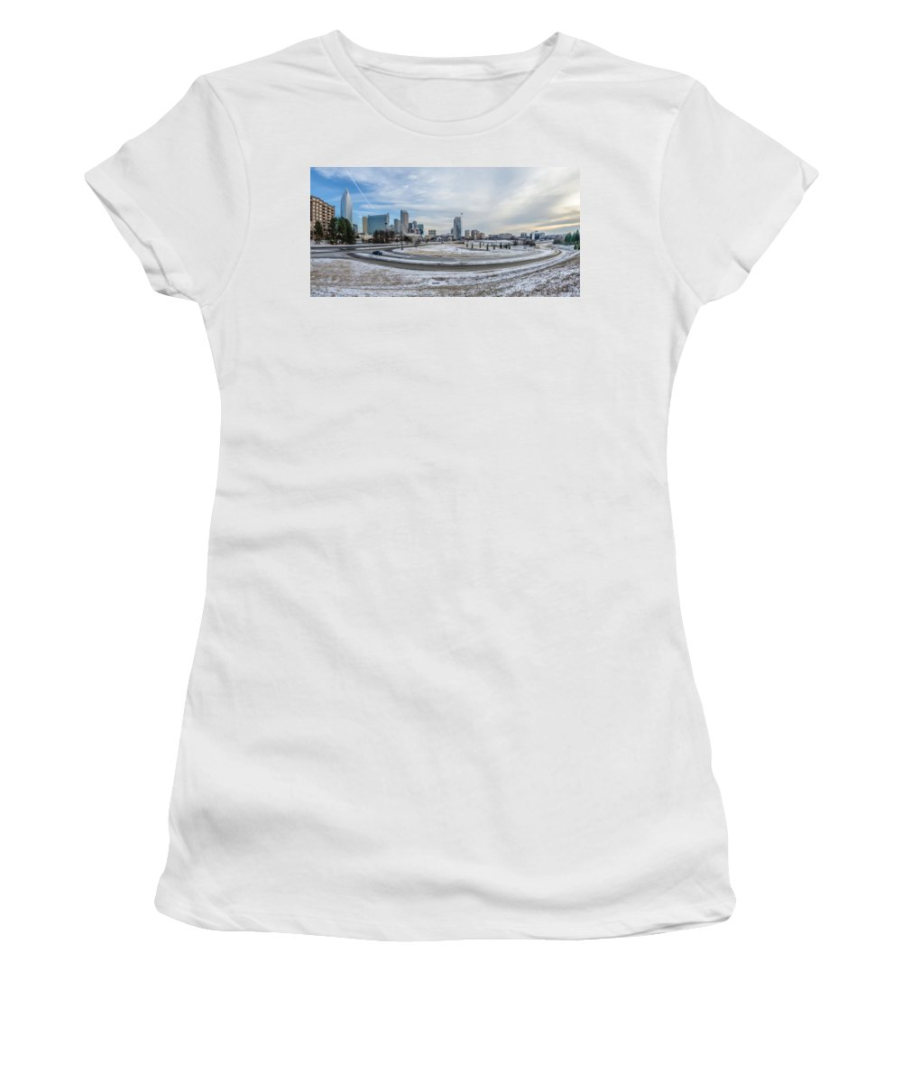 Rare Women's T-Shirt (Athletic Fit) featuring the photograph Charlotte North Carolina Skyline In Winter by Alex Grichenko