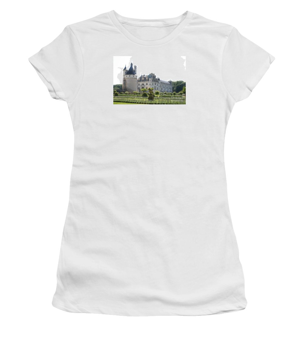 Castle Women's T-Shirt (Athletic Fit) featuring the photograph Chateau Chenonceau And Garden by Christiane Schulze Art And Photography