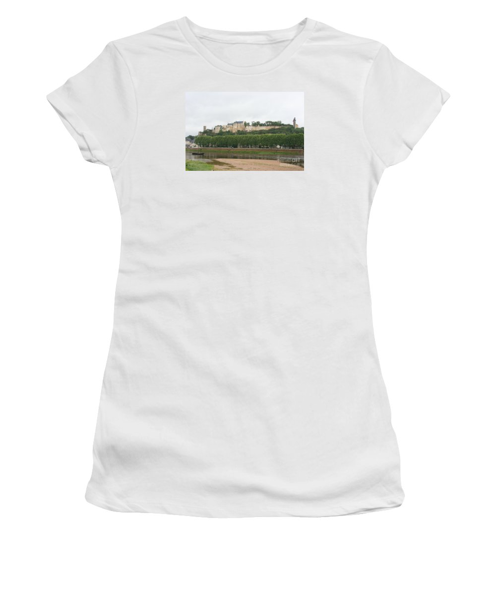Castle Women's T-Shirt (Athletic Fit) featuring the photograph Chateau De Chinon - France by Christiane Schulze Art And Photography