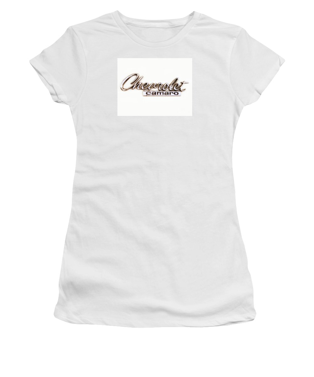 Chevy Camaro Women's T-Shirt featuring the photograph Chevrolet Camaro Emblem by Jerry Fornarotto