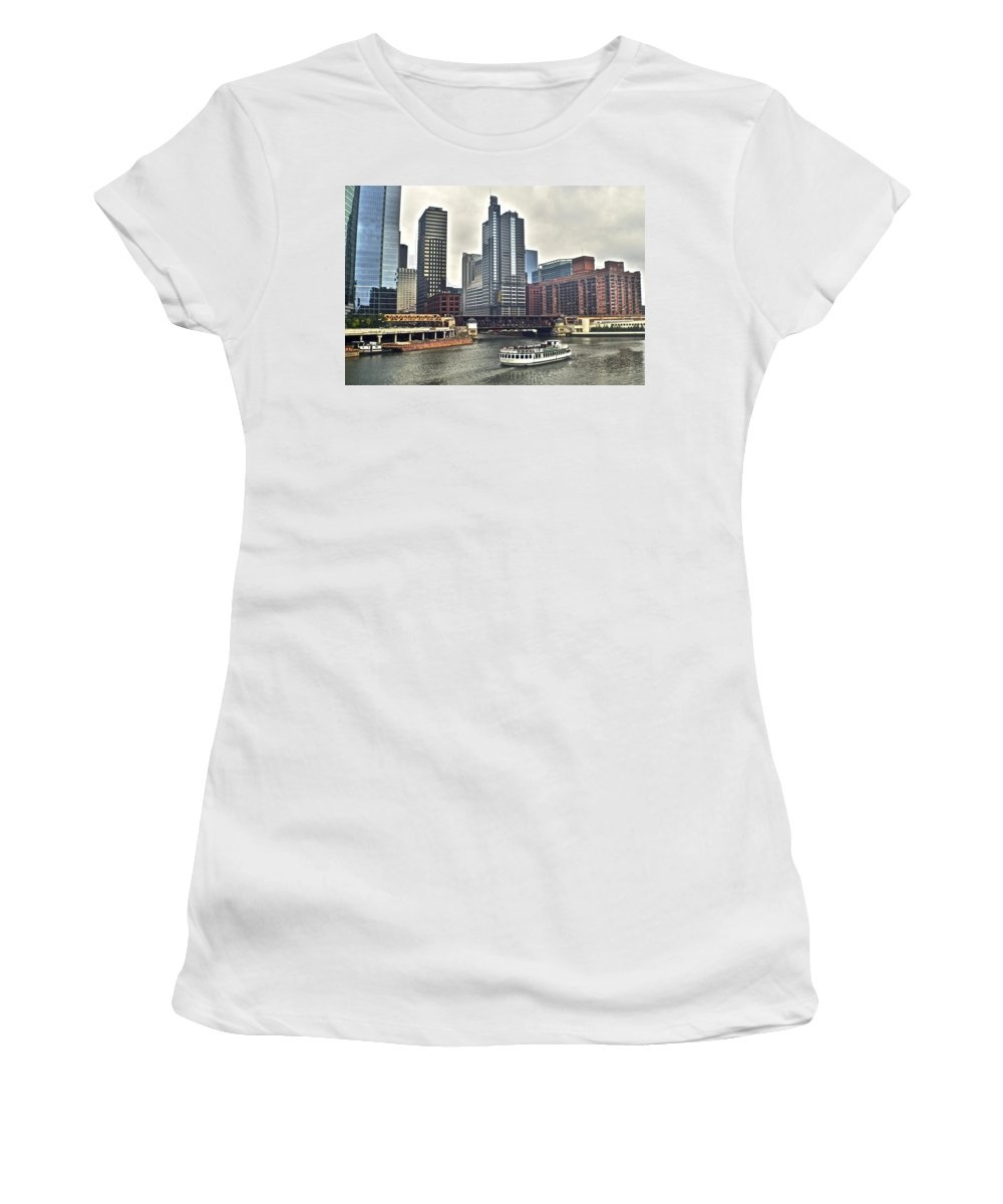 Chicago Women's T-Shirt (Athletic Fit) featuring the photograph Chicago River by Frozen in Time Fine Art Photography