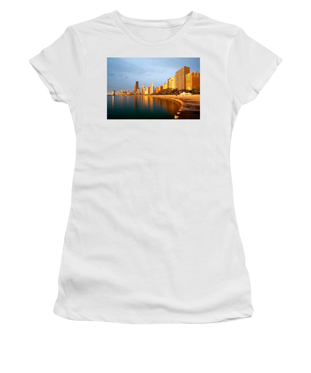 Chicago Women's T-Shirt (Athletic Fit) featuring the photograph Chicago Skyline by Sebastian Musial