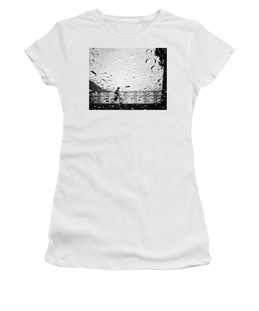 Rain Women's T-Shirt featuring the photograph Children In Rain by The Artist Project