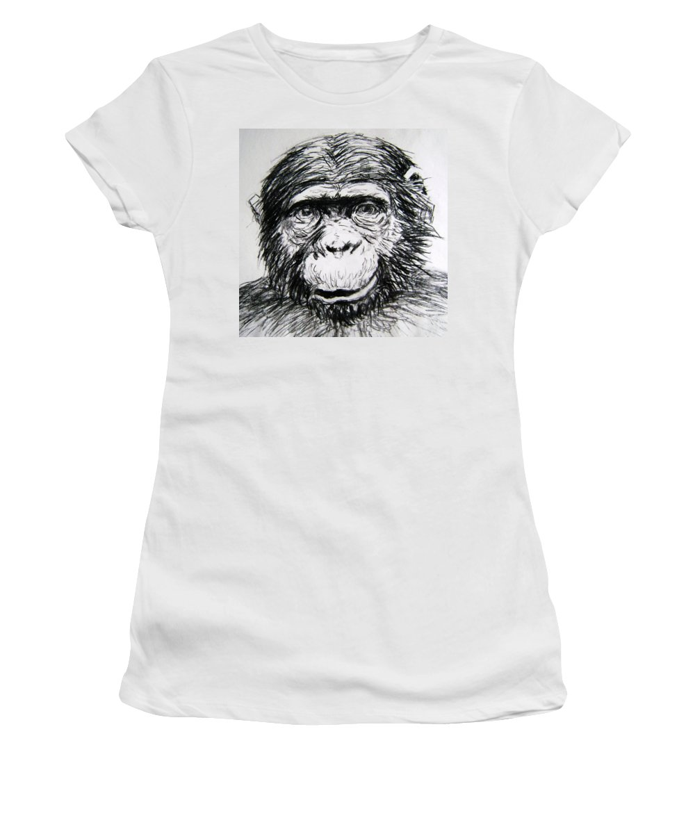 Chimp Women's T-Shirt (Athletic Fit) featuring the painting Chimp by Dina Day