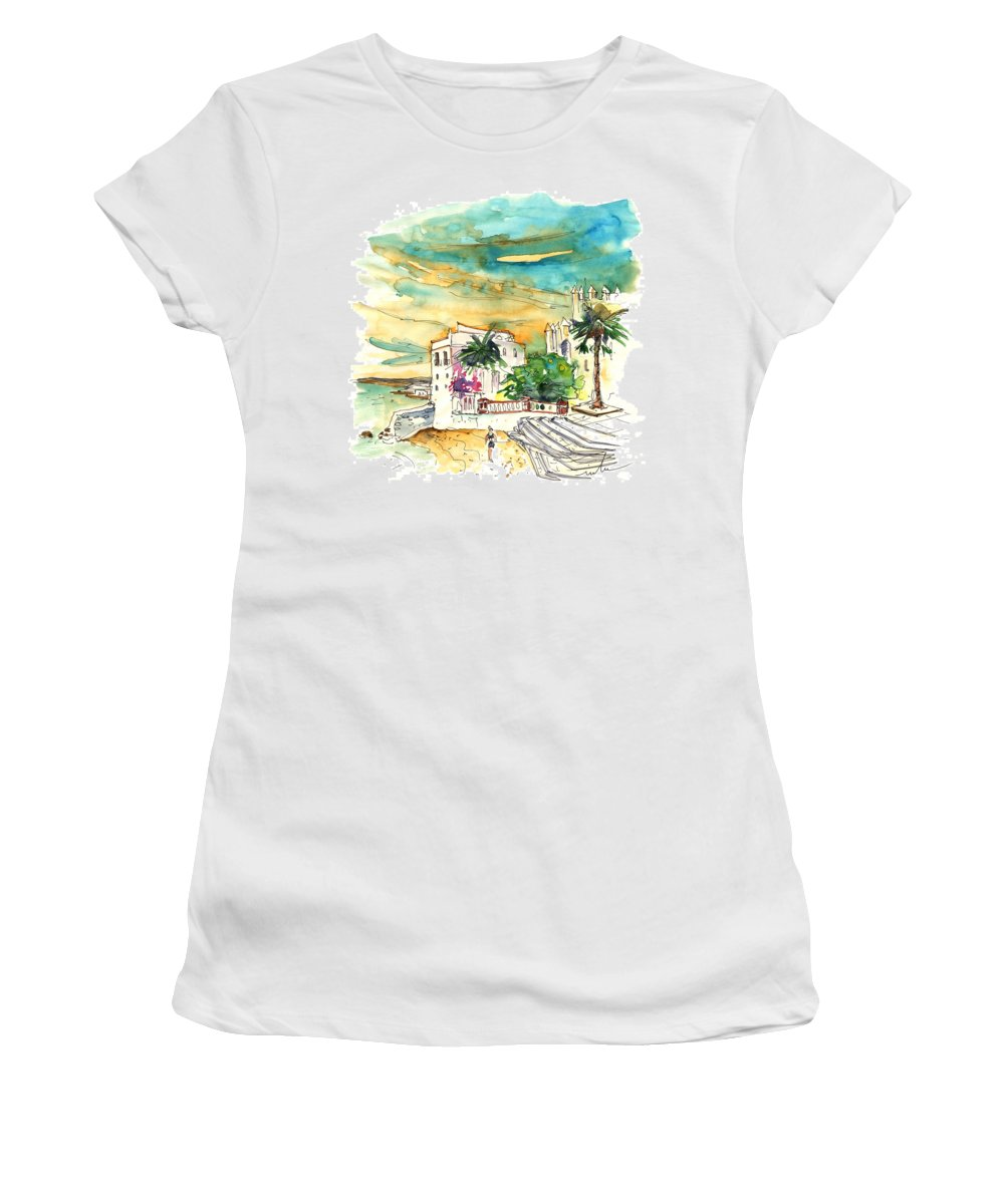 Travel Women's T-Shirt (Athletic Fit) featuring the painting Chipiona Spain 04 by Miki De Goodaboom