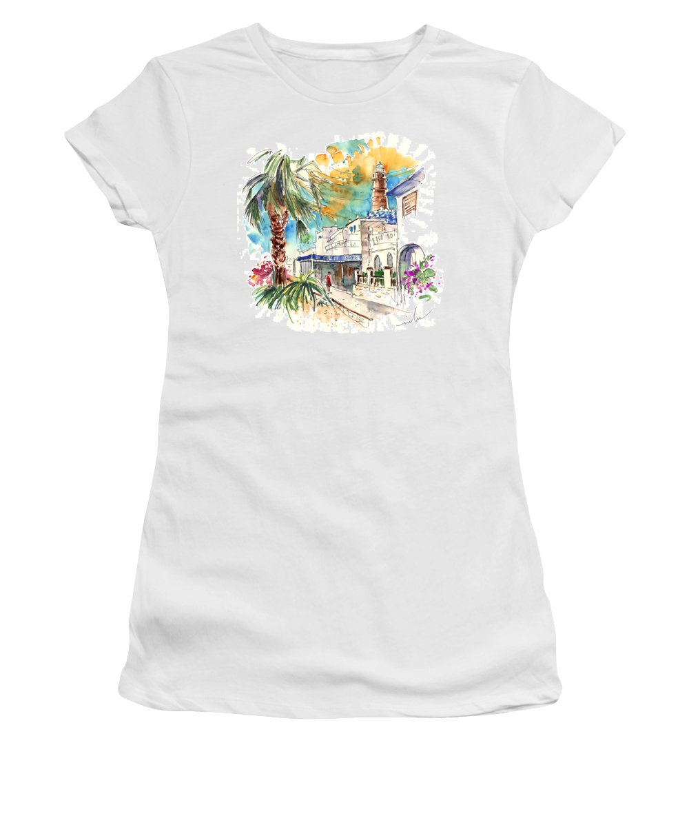 Travel Women's T-Shirt (Athletic Fit) featuring the painting Chipiona Spain 05 by Miki De Goodaboom