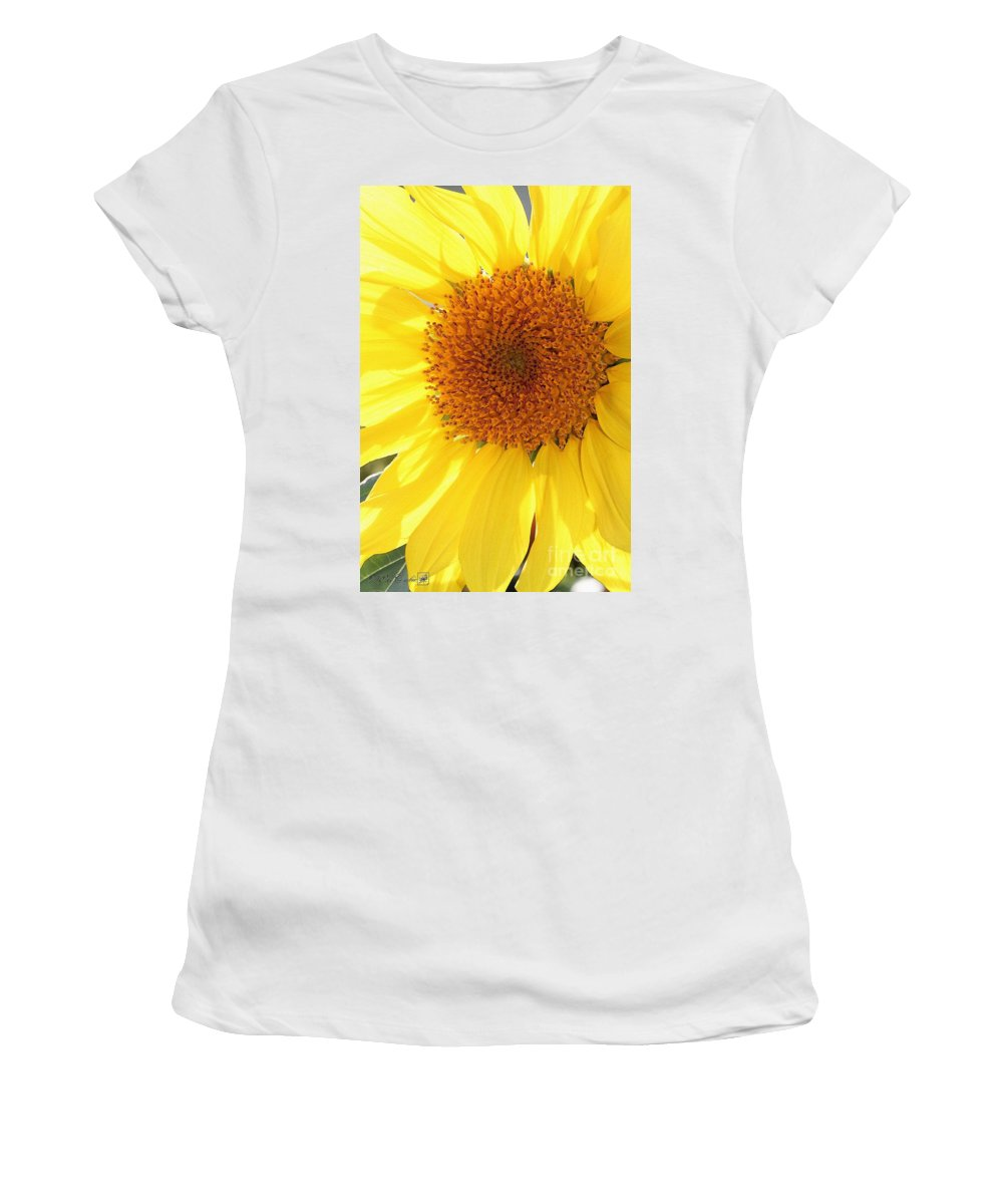 Mccombie Women's T-Shirt (Athletic Fit) featuring the painting Chipmunk's Peredovik Sunflower by J McCombie