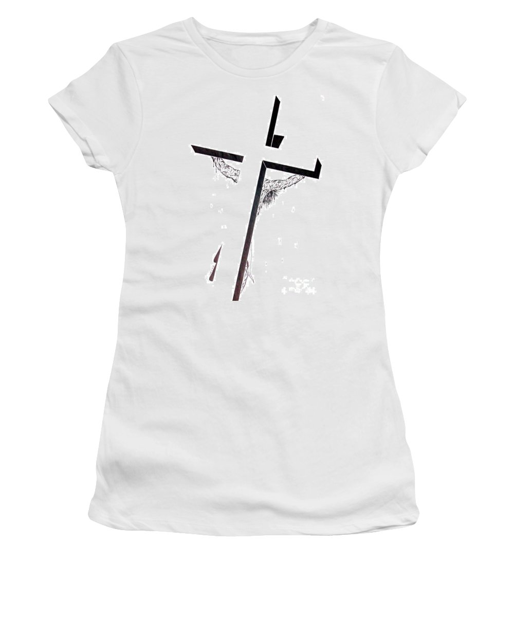 Christ Women's T-Shirt featuring the drawing Christ On Cross by Justin Moore
