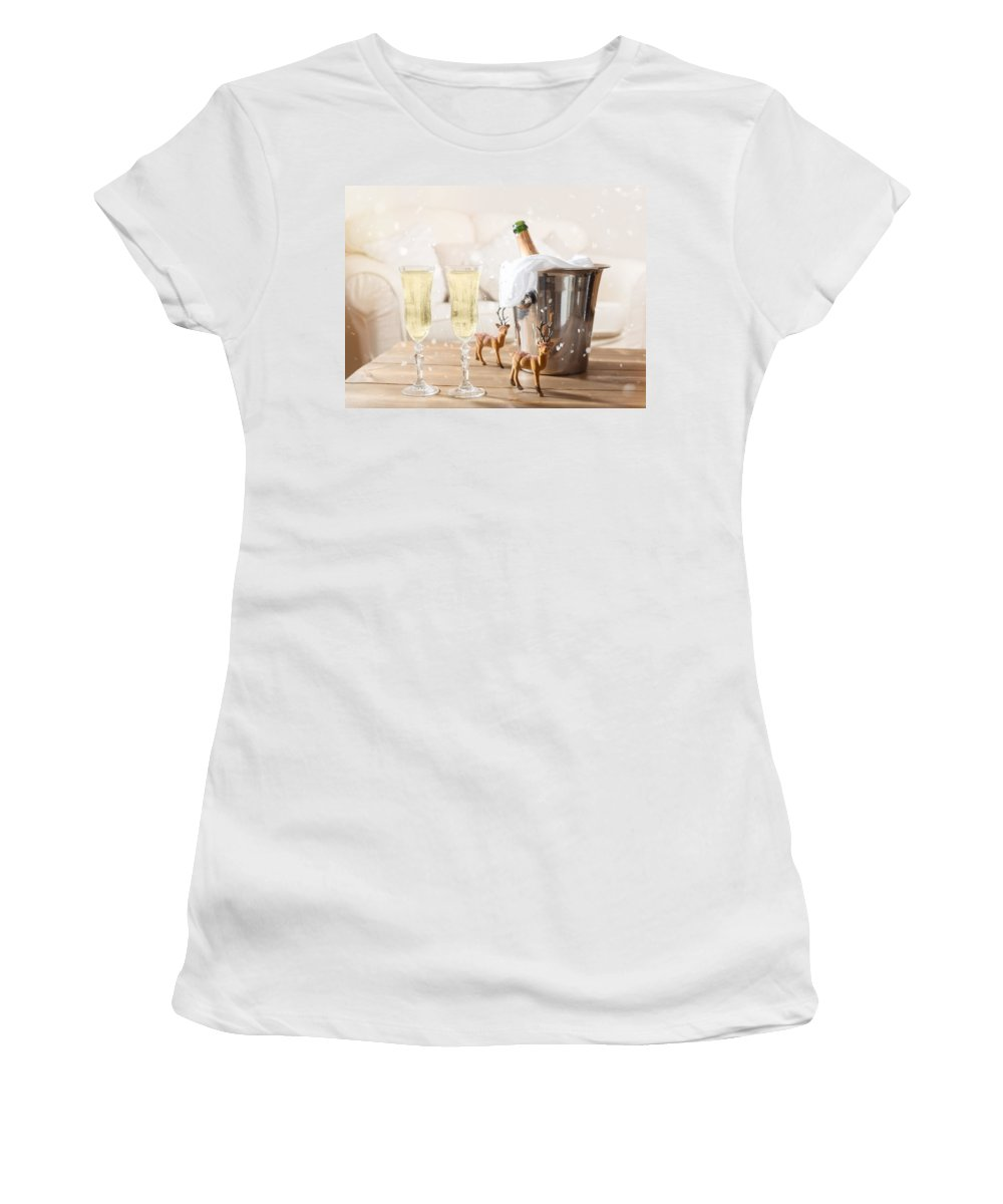 Champagne Women's T-Shirt featuring the photograph Christmas Champagne by Amanda Elwell