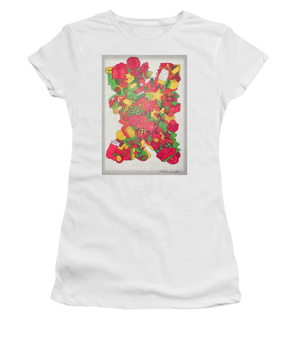Chelsea Women's T-Shirt (Athletic Fit) featuring the drawing Christmas by Chelsea Geldean