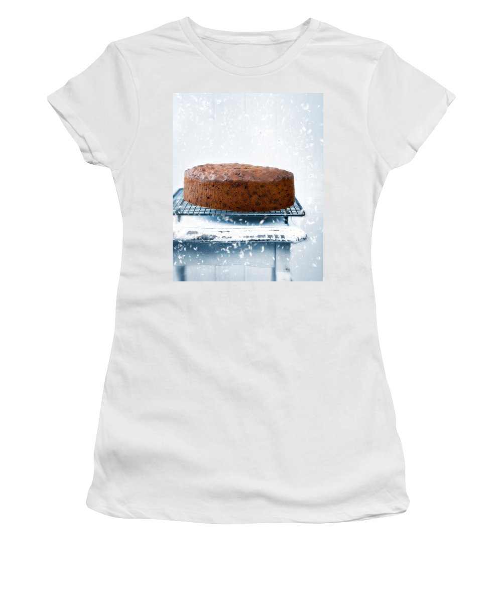 Christmas Women's T-Shirt (Athletic Fit) featuring the photograph Christmas Fruit Cake by Amanda Elwell