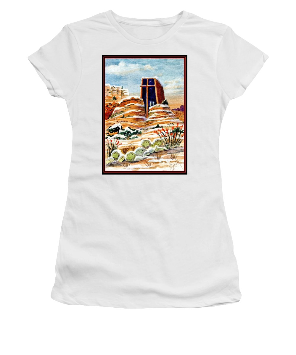 Chapel Of The Holy Cross Women's T-Shirt featuring the painting Christmas In Sedona by Marilyn Smith