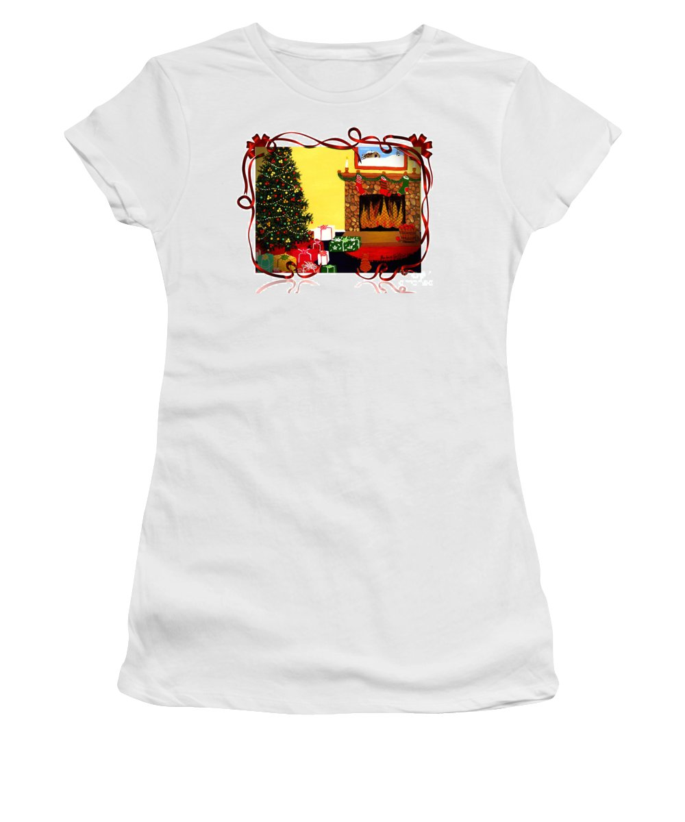 Christmas Women's T-Shirt featuring the painting Christmas - Memories - Ribbons - Bows by Barbara Griffin