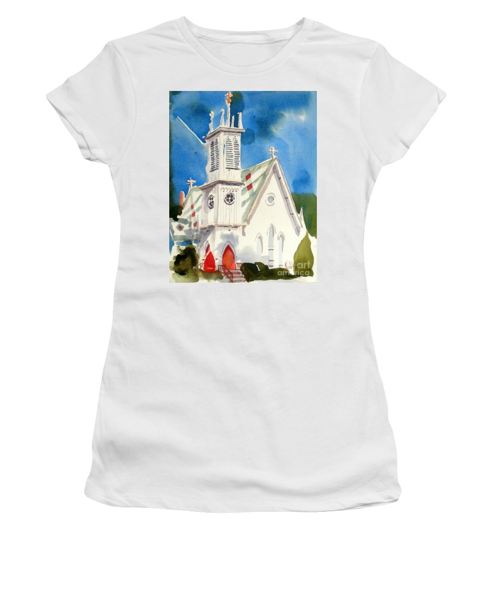 Church Women's T-Shirt (Athletic Fit) featuring the painting Church With Jet Contrail by Kip DeVore