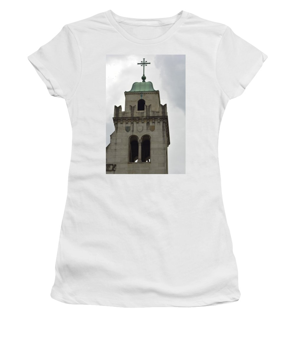 Cross Women's T-Shirt featuring the photograph Cincinnati Church With Angel Carving And Bronze Cross by Kathy Barney
