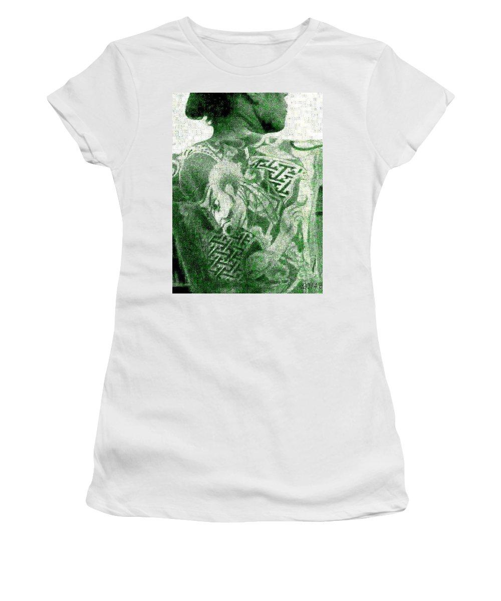 Samurai Women's T-Shirt featuring the digital art Circa 1900 Samurai Tattoo In Green by Peter Ogden