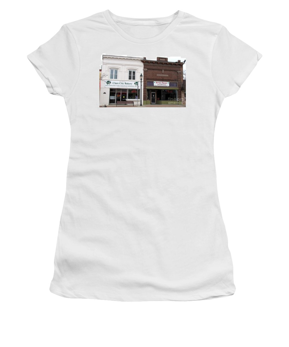 Clare Women's T-Shirt featuring the photograph City Bakery In Clare Michigan by Terri Gostola