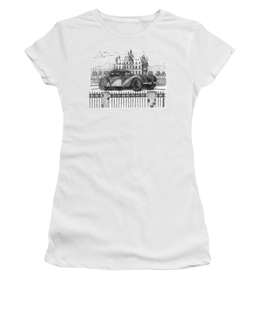 Classic Auto Women's T-Shirt (Athletic Fit) featuring the drawing Classic Auto With Chateau by Richard Wambach