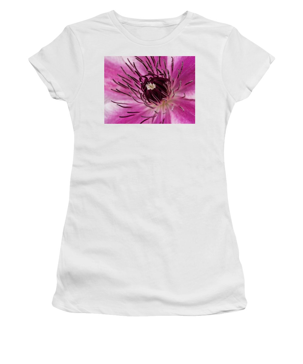 Clematis Women's T-Shirt (Athletic Fit) featuring the photograph Clematis Up Close by Robert Woodward