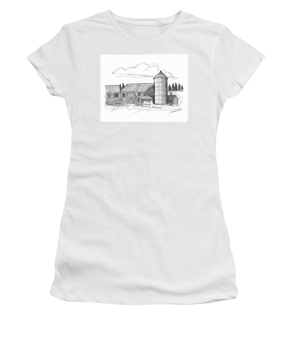 Barn Women's T-Shirt featuring the drawing Clermont Barn 2 by Richard Wambach
