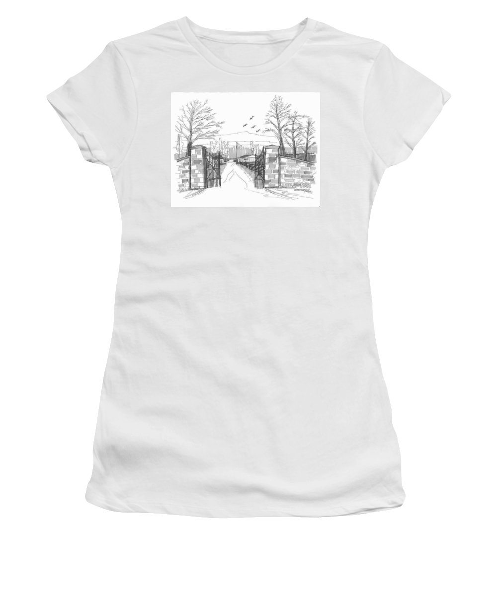 Farm Women's T-Shirt featuring the drawing Clermont Farm Gate by Richard Wambach