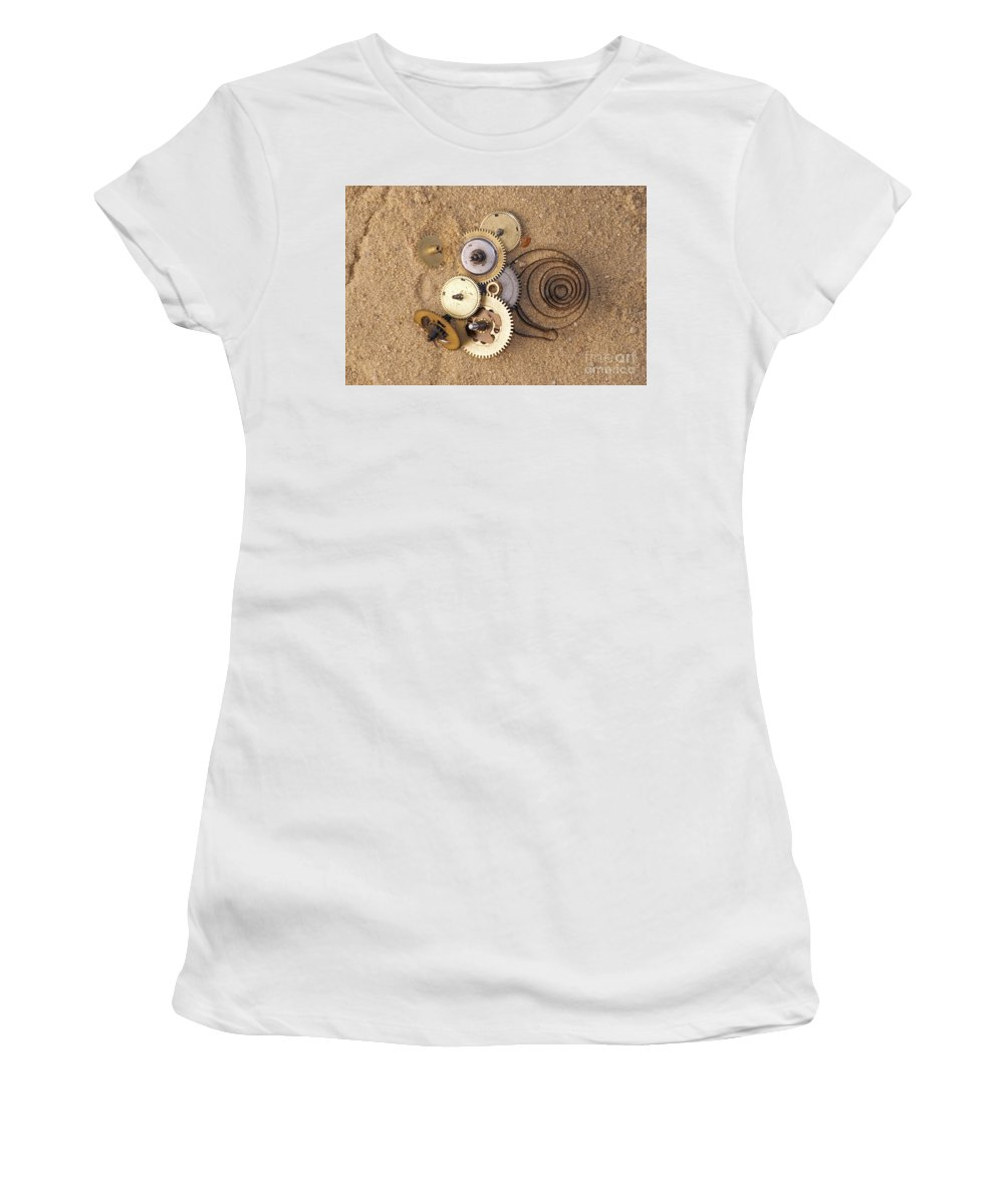 Clockwork Women's T-Shirt (Athletic Fit) featuring the photograph Clockwork Mechanism On The Sand by Michal Boubin