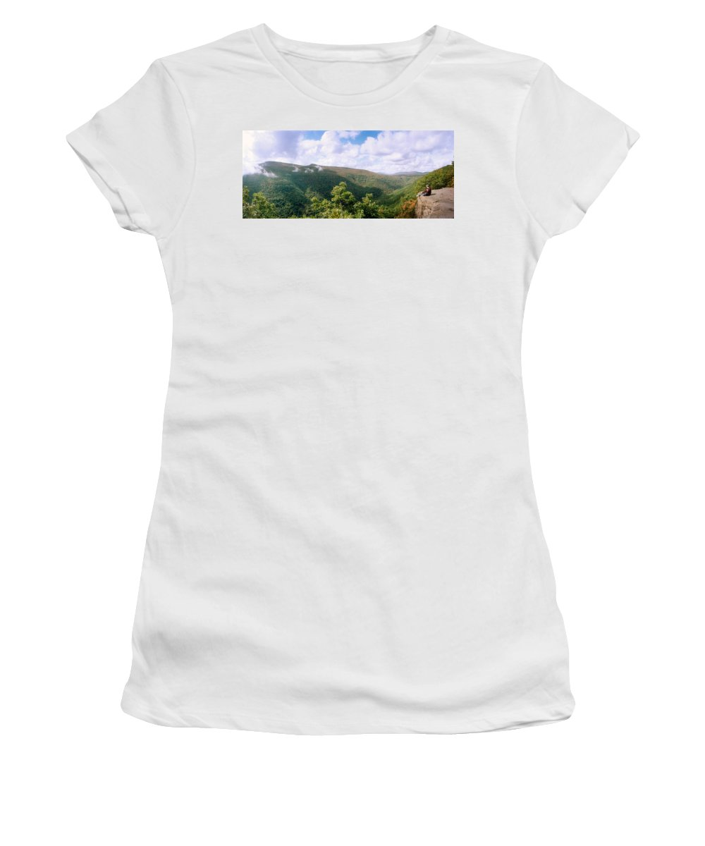 Photography Women's T-Shirt featuring the photograph Clouds Over Mountain, Sunset Rock by Panoramic Images