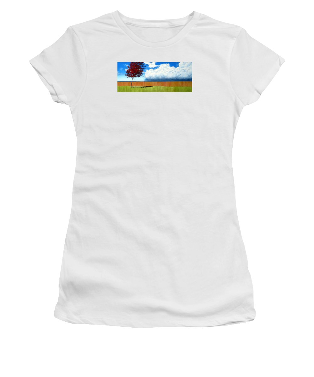 Landscape Women's T-Shirt (Athletic Fit) featuring the painting Cloudy Day by Michael Dillon