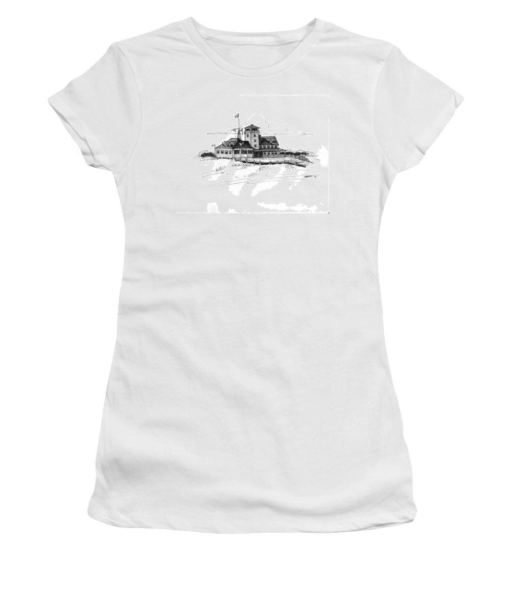 Coast Guard Stations Women's T-Shirt featuring the drawing Coast Guard Station 2 Ocracoke 1970s by Richard Wambach