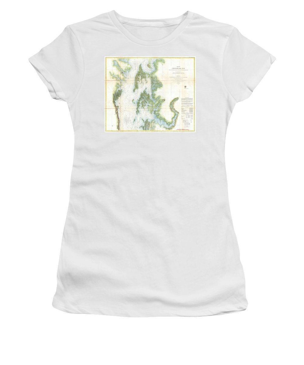 Women's T-Shirt featuring the photograph Coast Survey Chart Or Map Of The Chesapeake Bay by Paul Fearn