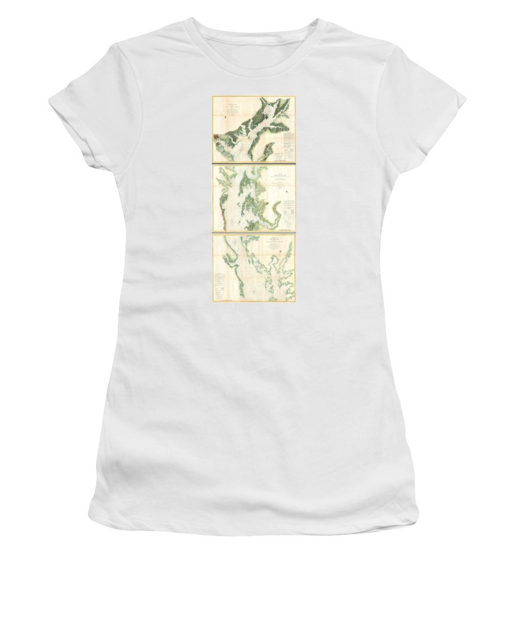 Women's T-Shirt (Athletic Fit) featuring the photograph Coast Survey Map Of The Chesapeake Bay by Paul Fearn