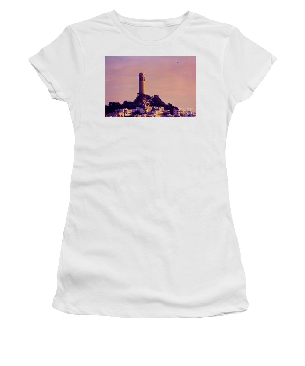 Coit Tower Women's T-Shirt (Athletic Fit) featuring the photograph Coit Tower by John Malone