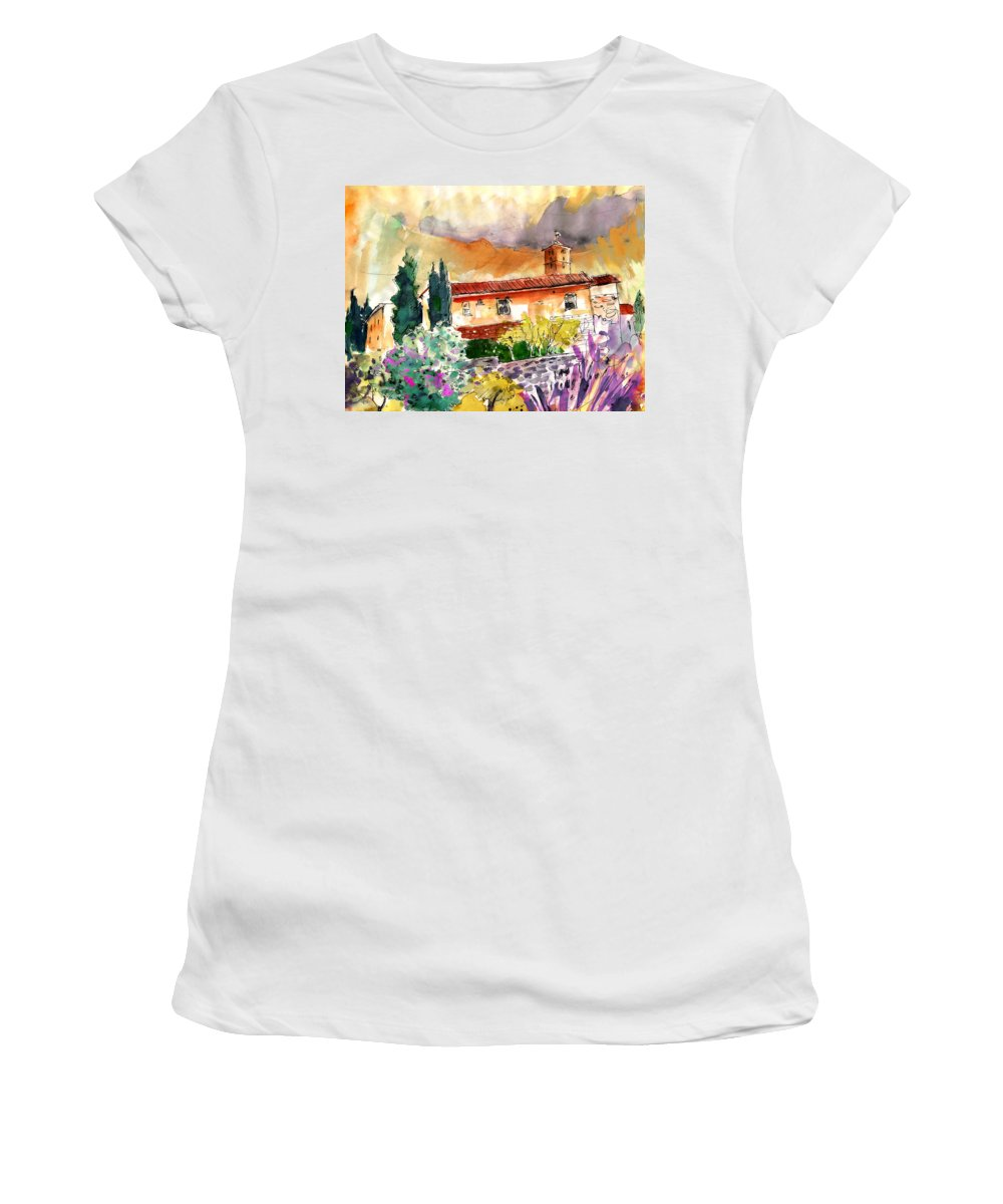 Italy Women's T-Shirt featuring the painting Colle D Val D Elsa In Italy 03 by Miki De Goodaboom